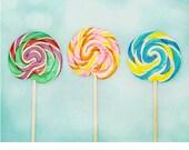 Cute nursery decor, lollipop photography, lollipop print, colorful children's art, nursery wall art, girls room decor, kitchen art, Food Art