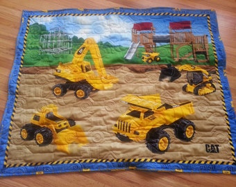 Construction Quilted Blanket, Boy Quilted Blanket, Dump Truck Backhoe Baby Quilted Blanket, Baby Boy Quilted Blanket