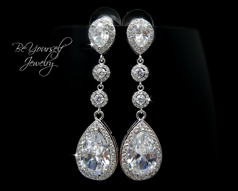 Wedding Jewelry Long Bridal Earrings Cubic Zirconia Teardrop Bride Earrings Statement CZ Wedding Earrings White Crystal Sterling Earrings