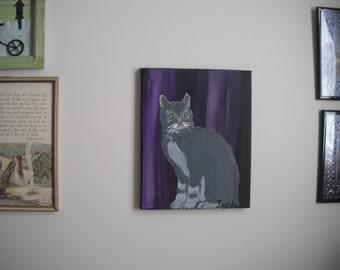 Gray Cat original / acrylic painting - 8x10 canvas / Maine Artist / Animals / Cats / Pets / painting