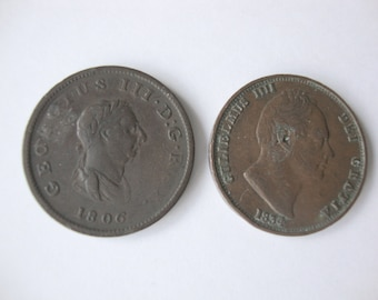 Coins Great Britain, Half Penny, 2 coins, Half Pennies from  1806 and 1834, English Half Pennies