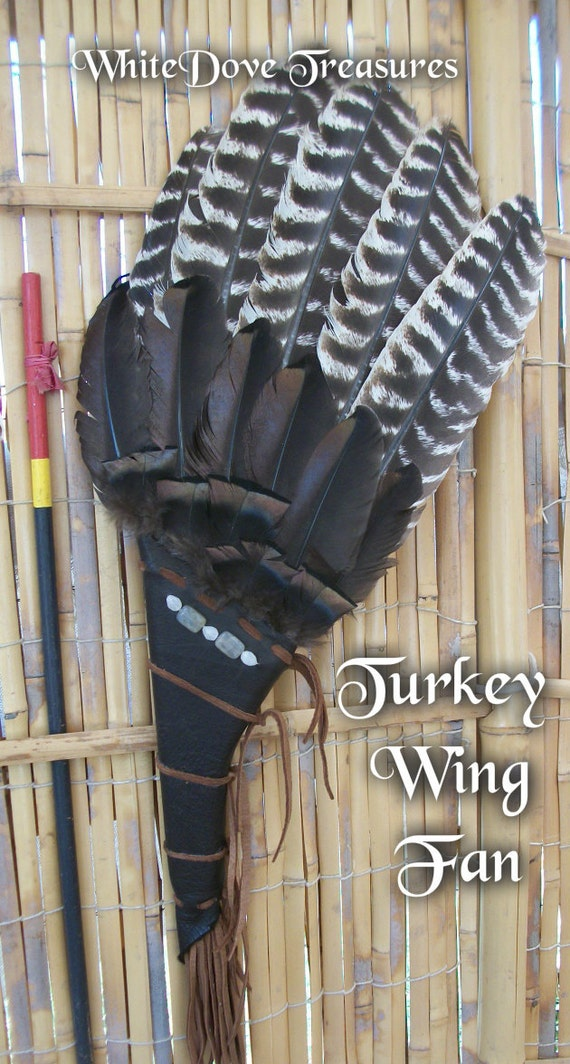 "SMUDGE FAN & 3oz Cedar Sage 22"" x 9"" Turkey Wing Dance Fan Native American Sweat Lodge Smudge Altar Ritual Leather Magic Labradorite Quartz"