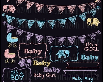 Chalkboard Baby - Personal and Commercial Use Clip Art -INSTANT DOWNLOAD