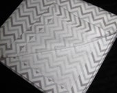"""Gray Chevron Receiving BLANKET  Swaddle   Flannel   XL Large  40"""""""
