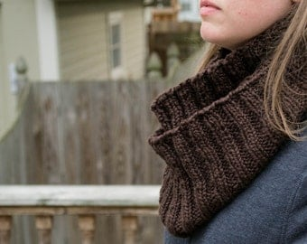 Hand knit Organic Cotton Chunky Ribbed Cowl Infinity Scarf in Espresso Brown,