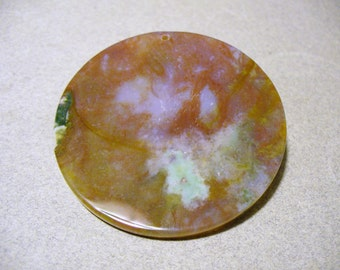 Pendant Agate Gemstone Rust Blue Round 46MM