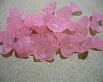Acrylic Beads Frosted Pink Flower 16MM