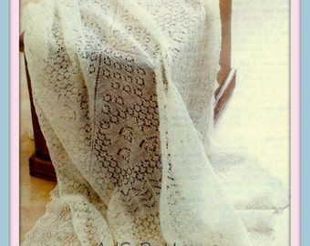 PDF Knitting Pattern for Beautiful Shetland Lace Baby Shawl in 1 ply Lace Wool - Instant Download