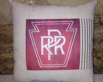 Pennsylvania Railroad quilted pillow