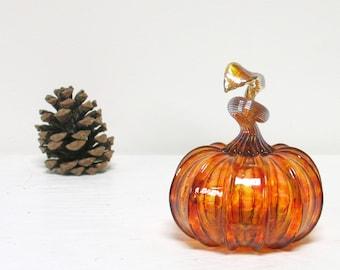Blown Glass Pumpkin Table Decorations, Spring Decor, Warm Honey Amber Orange