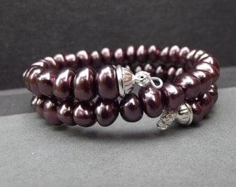 Burgundy Pearl Bracelet:  Wine Beaded Wrap Bracelet, Stacked Memory Wire Cuff Gothic Winter Wedding Jewelry