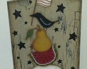 hand painted prim bread board, summer decor, watermelon, sheep, crow, pear. American flag. SCOFG