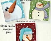 0037 Festive snowman pins epattern, paint your own, digital download, painting pattern