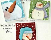 EPATTERN, 0037 Festive snowman pins epattern, paint your own, digital download, painting pattern,CIJ