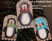 EPATTERN #0040 Penguin pals ornaments, digital download, painting pattern,