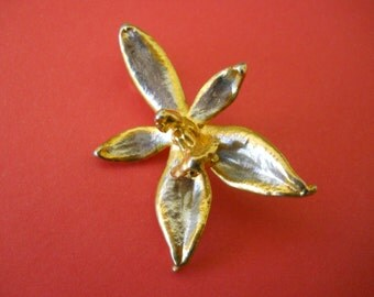RBB 31 Silver and Gold Vintage Orchid Brooch Pendant