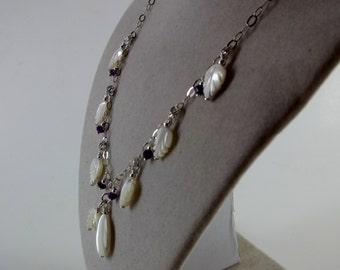 Mother Of Pearl and Dark Amethyst necklace on Sterling Silver chain