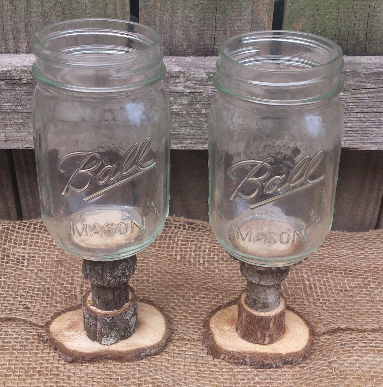 rustic style redneck wine glasses walnut stems rustic wedding. Black Bedroom Furniture Sets. Home Design Ideas