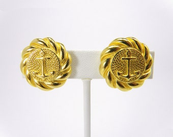 Vintage Gold Tone Anchor and Coiled Rope Clip on Earrings, Vintage Earrings, Nautical Design Earrings