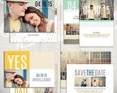 Save The Date Card Templates: Beginnings Collection - Set of Four 5x7 Engagement Cards