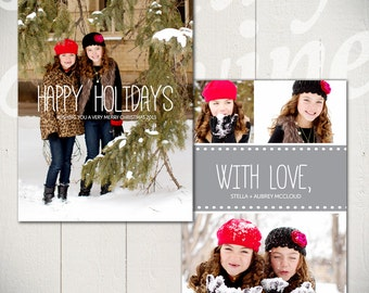 Christmas Card Template: Snow Day B - 5x7 Holiday Card Template for Photographers