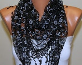 ON SALE - Black  Floral Scarf Women Shawl Scarf - Cowl Scarf - Lace Scarf - fatwoman Fashion Accessories