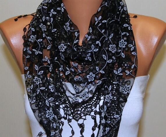 ON SALE - Black  Floral Scarf Women Shawl Scarf - Cowl Scarf - Lace Scarf - fatwoman Fashion Accessories