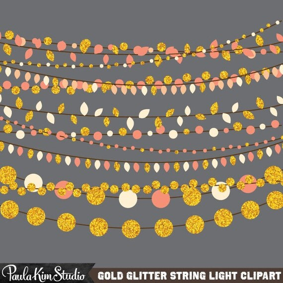 80% OFF SALE Gold Glitter String Light Clipart Coral String