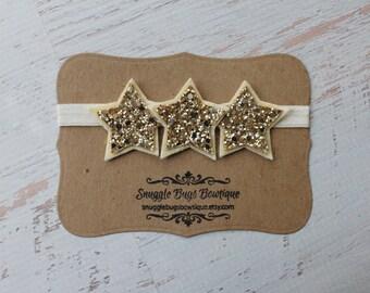 Cream and Gold Glitter Star Headband - Newborn Baby to Adult -4th of July Headband