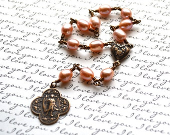 Chaplet of St. Raphael - Pink Pearls - Unbreakable Chaplet - Wire Wrapped -  Made in USA