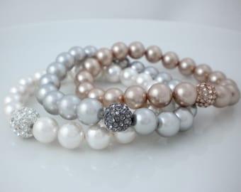 Swarovski pearl bracelet, stretch bracelet with rhinestone ball