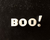 """Vintage White Ceramic Push Pins """"BOO!"""" (c.1940s) - Halloween Bulletin Board Decor, Altered Art Supply, and more"""