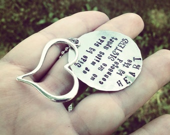 Hand stamped unique sisters necklace