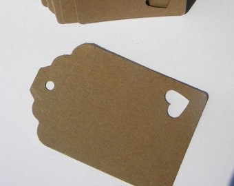 75 Paper Tags in kraft card stock - ready to decorate - gift tags - wedding favor tags - blank tags - merchandise tags