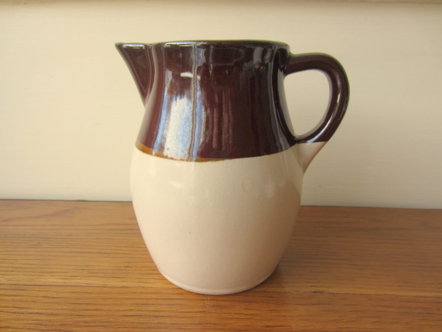 Small Vintage Stoneware Pitcher Made By R R P Co By