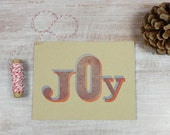 6 Letterpress Holiday Christmas Flat Note Cards // JOY  in red and blue