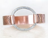 Silver and Copper Latch Bangle Bracelet - Deeply Etched Oxidized Organically Handcrafted - Gift for Her - Latch Cuff