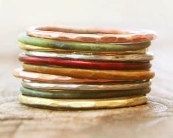Stacking Rings / Thin Stacking Rings / Patina Stackable Rings / Stack / Silver Stack Ring / Stacking Ring Set / Stack Rings