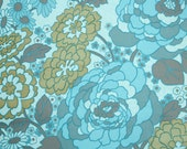 Retro Wallpaper by the Yard 70s Vintage Wallpaper - 1970s Aqua Blue and Brown Floral