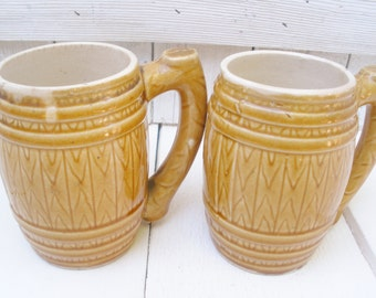 Two vintage barrel mugs cups ceramic wood grain tan