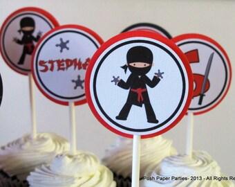 Ninja Birthday Party Cupcake Toppers - Red-Black-White - Boys Ninja Party