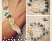 RESERVED FOR MOISES/ Cali Love-Turquoise and Silver California State Bracelet
