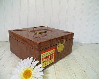 Industrial Litho Metal Check File Box - Vintage Ballonoff Porta-File Carrier - Retro Wood Grain Cash Box Brassy Interior & Original Label