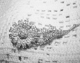 Stunning Paved Set Rhinestone Flower Brooch Rhodium Plated Signed