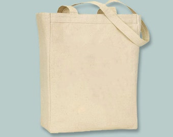 YOUR DESIGN (or ours) heat transferred standard 11x14x5 Canvas tote with Shoulder Strap -Selection of sizes