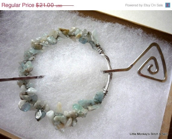 Black Friday Sale - Hand Forged Shawl Pin, Aqua