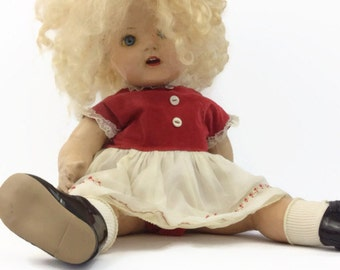 1950s Composition Doll yellow curly blonde hair blue tin eyes red and white dress black shoes