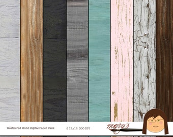 Weathered Wood, Digital Scrapbook Papers, Background, 8 pack, 12x12 & 8.5x11