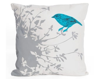 Perch Cushion - handmade screenprinted silk with bird design