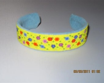 Yellow Daisy and Turquoise Blue Leather Cuff Style Bracelet....OOAK...1334h